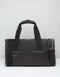 Asos Holdall In Faux Leather And Suede Black