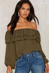 Glamorous Off The Shoulder To The Races Ruffle Top Olive Green