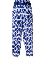Issey Miyake Printed Cropped Trousers Blue