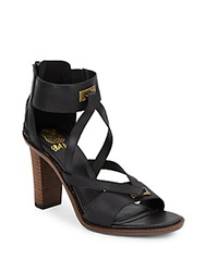 Elliott Lucca Leather Ankle Cuff Sandals Black