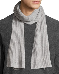Portolano Cashmere Ribbed Scarf Light Heather Gray