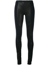 Ilaria Nistri Panelled Leggings Women Polyamide Spandex Elastane Lamb Nubuck Leather 44 Black