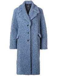 Paul Smith Ps By Long Single Breasted Coat Blue