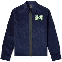 Brain Dead Mushroom Embroidered Corduroy Shirt Jacket Blue