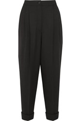 Dolce And Gabbana Cropped Stretch Wool Blend Tapered Pants Black