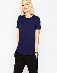 Asos Contrast Ribbed Panel T Shirt Navy