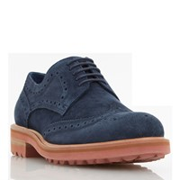 Dune Blindside Heavy Gibson Brogue Shoes Navy