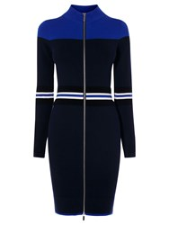 Karen Millen Sporty Placed Stripe Dress Blue Multi