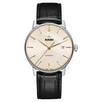 Rado R22860105 Men's Coupole Classic Date Automatic Leather Strap Watch Black Gold