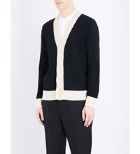 Alexander Mcqueen Crochet Trim Knitted Wool Cardigan Black Bone