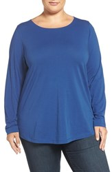 Sejour Plus Size Women's Ballet Neck Long Sleeve Tee Blue Mazarine