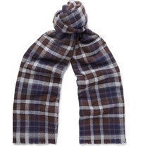 Kingsman Drake's Checked Merino Wool And Cashmere Blend Scarf Navy