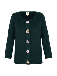 Yumi Cardigan With Floral Embellishments Green