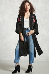 Forever 21 Embroidered Floral Kimono Black Red