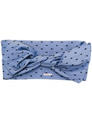 Red Valentino Tulle Overlay Head Scarf Blue