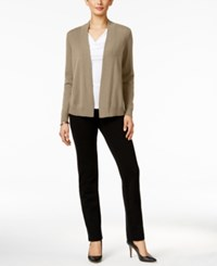 Charter Club Petite Cashmere Open Front Cardigan Only At Macy's Cc Heather Camel