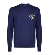 Billionaire Wolf Crest Crew Neck Sweater Male Blue