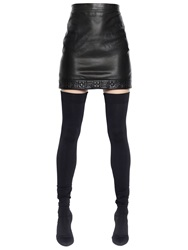Versace Nappa Leather Skirt With Quilted Hem Black