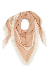 David And Young Crochet Trim Triangle Scarf Peach
