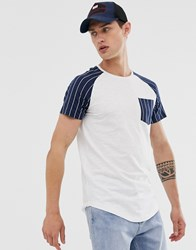 Tom Tailor T Shirt With Stripe Raglan Sleeve And Pocket White