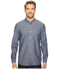 Lacoste Long Sleeve Bold Chambray Denim W Contrasted Stitch Philippines Blue White Men's Long Sleeve Button Up