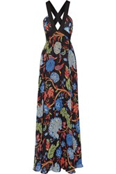 Alice Olivia Celina Grosgrain Trimmed Printed Chiffon Maxi Dress Black