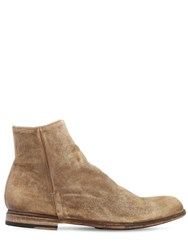 Pantanetti 25Mm Zip Up Suede Ankle Boots Honey
