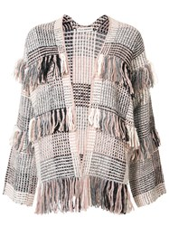 Ulla Johnson 'Elena' Fringed Cardigan Nude And Neutrals