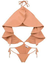 Amir Slama Ruffled Swimsuit Neutrals