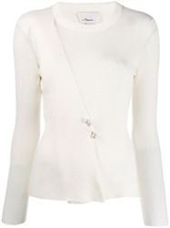 3.1 Phillip Lim Sweater With Pearl Embellished Bar Pin White