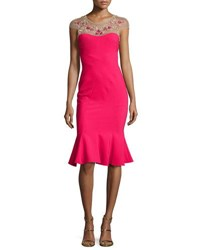 Marchesa Cap Sleeve Embroidered Flounce Dress Magenta