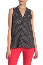 Vince Camuto Pleated V Neck High Low Tank Top Petite Rich Black
