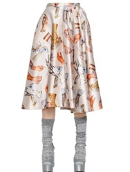 Rochas Gloves Printed Duchesse Midi Skirt