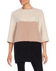 Maxmara Studio Licia Short Wool Colorblock Coat Powder