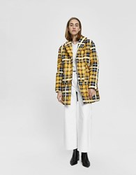 House Of Sunny New Quilted Puffer Jacket Golden Plaid