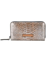 Brunello Cucinelli Metallic Grey Snakeskin Effect Wallet