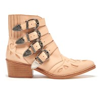 Toga Pulla Women's Buckle Side Leather Heeled Ankle Boots Beige