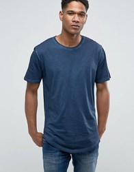 Only And Sons T Shirt In Oil Wash Dress Blue Navy