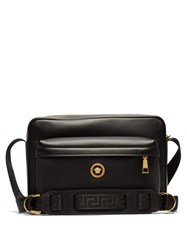 Versace Medusa Leather Messenger Bag Black