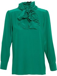 Gucci Ruffle Neck Blouse Green