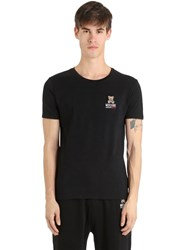 Moschino Slim Fit Printed Cotton Jersey T Shirt Black
