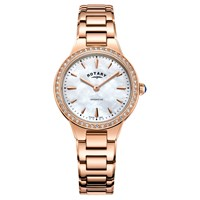 Rotary Women's Kensington Pave Set Bracelet Strap Watch Rose Gold Mother Of Pearl