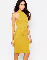 Jessica Wright Sia High Neck Pencil Dress With Pleats Mustard Yellow