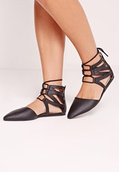 Missguided Ghille Mesh Lace Up Flat Shoes Black Black
