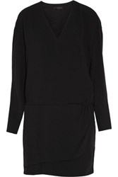 Belstaff Nova Layered Wrap Effect Crepe Mini Dress Black