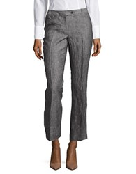 Calvin Klein Petite Textured Linen Pants Black White