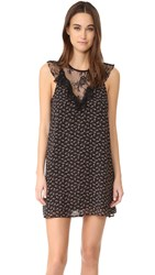 Wayf Andrea Lace Inset Dress Black Floral