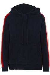 Chinti And Parker Striped Cashmere Hoodie Navy