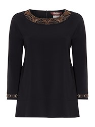 Max Mara Flavio Long Sleeve Embellished Cuff Top Black