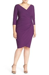 Plus Size Women's Alex Evenings Embellished Side Ruched Jersey Cocktail Sheath Dress Purple
